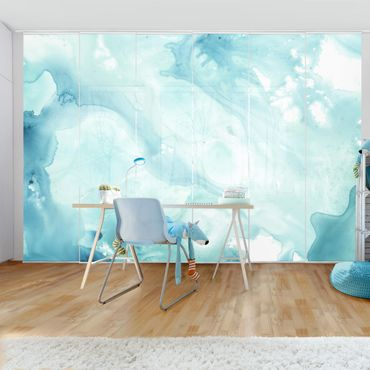 Schiebegardinen Set - Emulsion in weiß und türkis I - Flächenvorhang