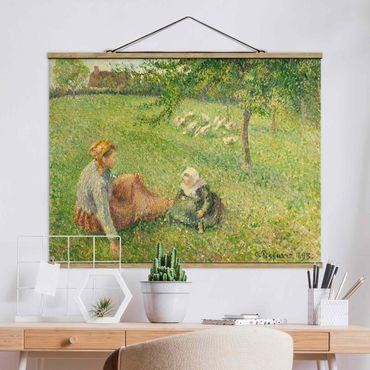 Stoffbild mit Posterleisten - Camille Pissarro - Gänsehirtin - Querformat 3:4