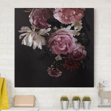 Leinwandbild - Rosa Blumen auf Schwarz - Quadrat 1:1