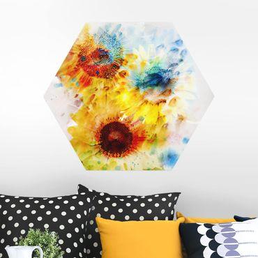 Hexagon Bild Alu-Dibond - Aquarell Blumen Sonnenblumen