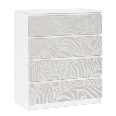 Möbelfolie für IKEA Malm Kommode - selbstklebende Folie No.DS4 Zebrastreifen Hellgrau