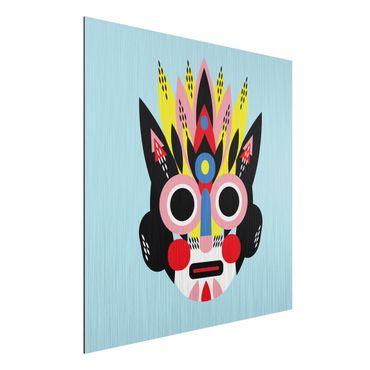 Aluminium Print gebürstet - Collage Ethno Maske - Gesicht - Quadrat 1:1