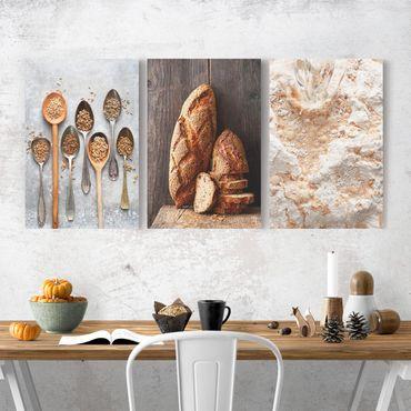 Leinwandbild 3-teilig - Brot backen - Hoch 2:3