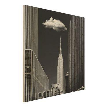 Holzbild - New York mit einzelner Wolke - Quadrat 1:1
