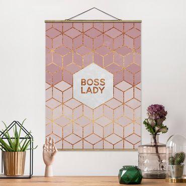 Stoffbild mit Posterleisten - Elisabeth Fredriksson - Boss Lady Sechsecke Rosa - Hochformat 4:3
