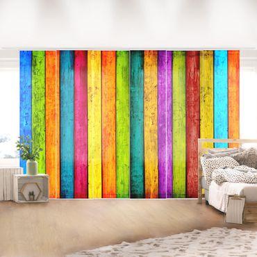 Schiebegardinen Set - Colourful Palisade - Flächenvorhänge
