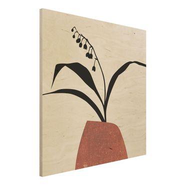 Holzbild - Grafische Pflanzenwelt - Maiglöckchen - Quadrat 1:1