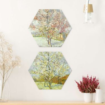 Hexagon Bild Alu-Dibond 2-teilig - Vincent van Gogh - Blühende Pfirsichbäume im Garten