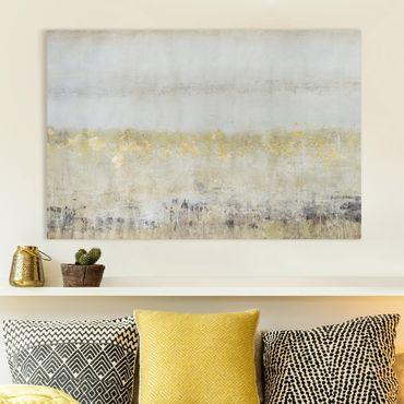 Leinwandbild - Goldene Farbfelder I - Querformat 2:3