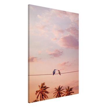 Magnettafel - Jonas Loose - Sonnenuntergang mit Kolibris - Memoboard Hochformat 3:2