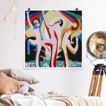 Poster - Ernst Ludwig Kirchner - Farbentanz - Quadrat 1:1