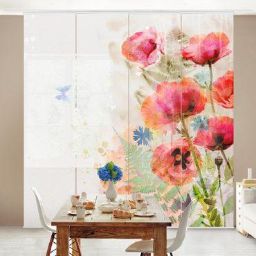 Schiebegardinen Set - Aquarell Blumen Mohn - Flächenvorhänge