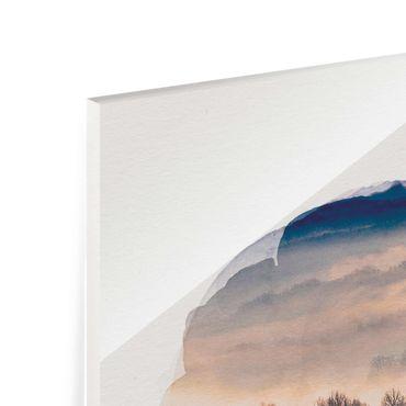 Glasbild - Wasserfarben - Nebel bei Sonnenuntergang - Hochformat 4:3