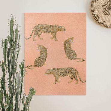 Leinwandbild - Illustration Leoparden Rosa Malerei - Hochformat 4:3