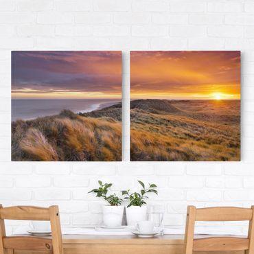 Leinwandbild 2-teilig - Sonnenaufgang am Strand auf Sylt - Quadrate 1:1