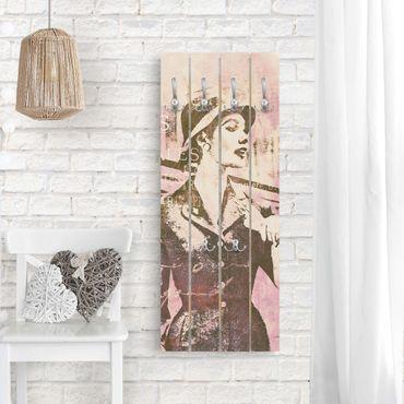 Wandgarderobe Holz - Vintage Collage - Pariserin - Haken chrom Hochformat
