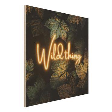 Holzbild - Wild Thing goldene Blätter - Quadrat 1:1