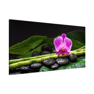 Magnettafel - Grüner Bambus mit Orchideenblüte - Memoboard Panorama Querformat 1:2
