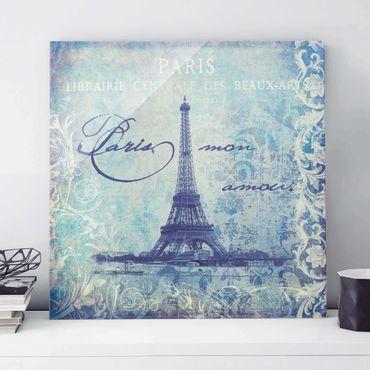 Glasbild - Vintage Collage - Paris Mon Amour - Quadrat 1:1