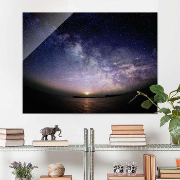 Glasbild - Sonne und Sternenhimmel am Meer - Querformat 3:4
