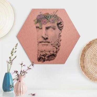 Hexagon Bild Alu-Dibond - Jonas Loose - Kopf mit Sukkulenten
