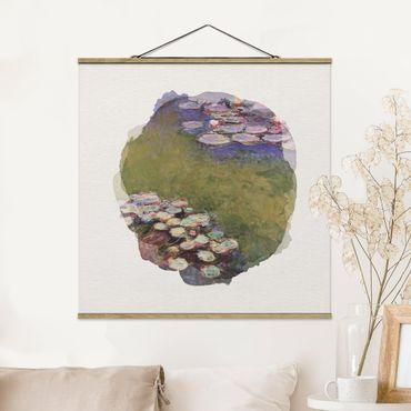 Stoffbild mit Posterleisten - Wasserfarben - Claude Monet - Seerosen - Quadrat 1:1