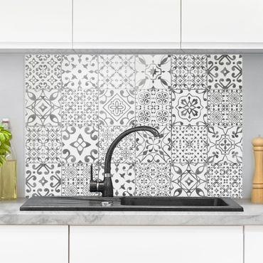 Spritzschutz Glas - Musterfliesen Grau Weiß - Querformat - 3:2