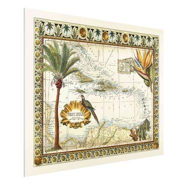 Forex Fine Art Print - Vintage Tropische Landkarte West Indien - Querformat 3:4