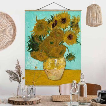 Stoffbild mit Posterleisten - Vincent van Gogh - Vase mit Sonnenblumen - Hochformat 4:3
