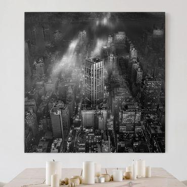 Leinwandbild - Sonnenlicht über New York City - Quadrat 1:1