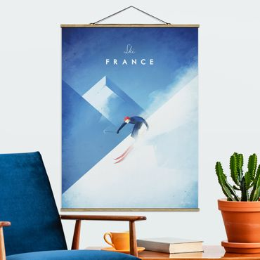 Stoffbild mit Posterleisten - Reiseposter - Ski in Frankreich - Hochformat 4:3