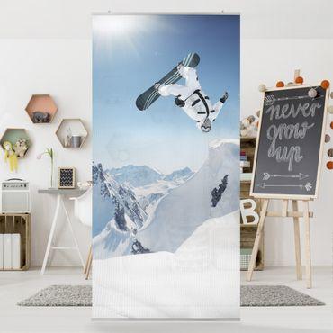 Raumteiler Kinderzimmer - Fliegender Snowboarder 250x120cm