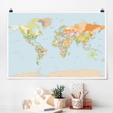 Poster - Politische Weltkarte - Querformat 2:3