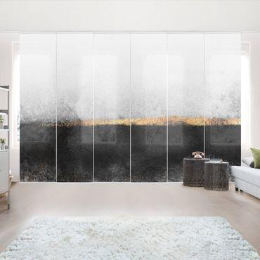 Schiebegardinen Set - Elisabeth Fredriksson - Abstrakter Goldener Horizont Schwarz Weiß - 6 Flächenvorhänge