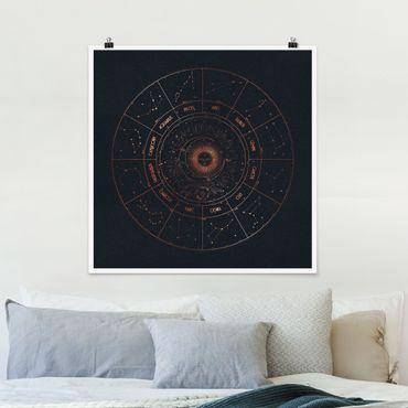 Poster - Astrologie Die 12 Sternzeichen Blau Gold - Quadrat 1:1