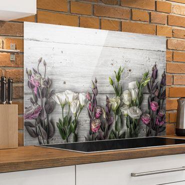 Spritzschutz Glas - Tulpen-Rose Shabby Holzoptik - Querformat - 3:2