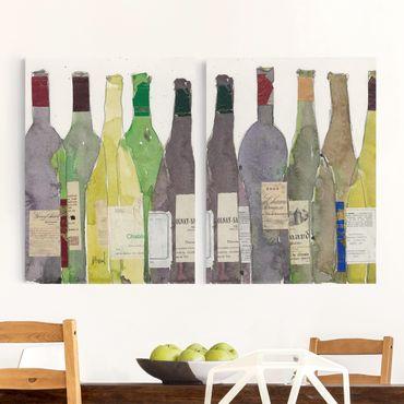 Leinwandbild 2-teilig - Wein & Spirituosen Set II - Hoch 4:3