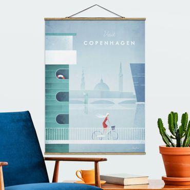 Stoffbild mit Posterleisten - Reiseposter - Kopenhagen - Hochformat 4:3