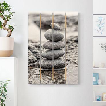 Holzbild - Steinturm im Wasser - Hochformat 3:2