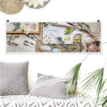 Poster - Blumen und Gartenkräuter Vintage - Panorama Querformat