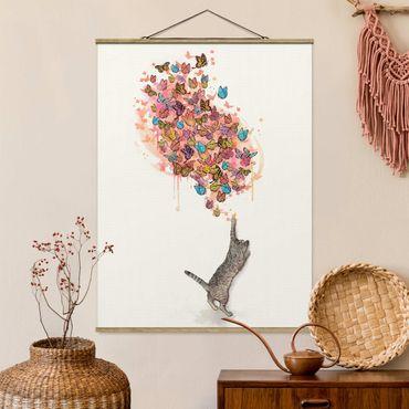 Stoffbild mit Posterleisten - Laura Graves - Illustration Katze mit bunten Schmetterlingen Malerei - Hochformat 4:3