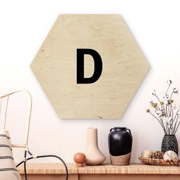 Hexagon Bild Holz - Buchstabe Weiß D