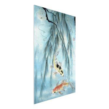 Forex Fine Art Print - Japanische Aquarell Zeichnung Goldfische II - Hochformat 3:2