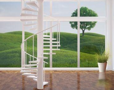 Fensterfolie - XXL Fensterbild Grüne Ruhe - Fenster Sichtschutz