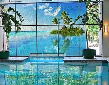 Fensterfolie - XXL Fensterbild Tropisches Paradies - Fenster Sichtschutz