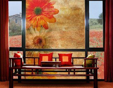 Fensterfolie - XXL Fensterbild Vintage Flowermix - Fenster Sichtschutz