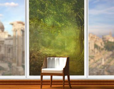 Fensterfolie - XXL Fensterbild Waldspaziergang - Fenster Sichtschutz