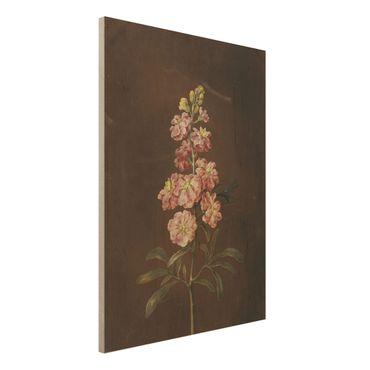 Holzbild - Barbara Regina Dietzsch - Eine rosa Garten-Levkkoje - Hochformat 4:3