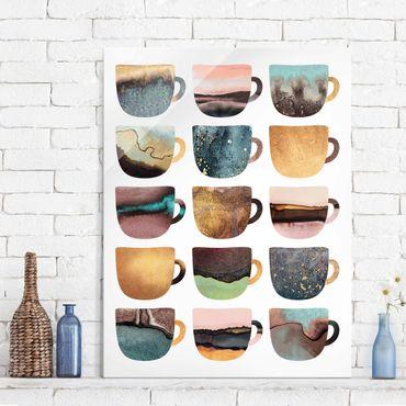 Glasbild - Bunte Kaffeetassen mit Gold - Hochformat 4:3