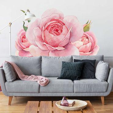 Wandtattoo - Aquarell Rosa Rose XXL